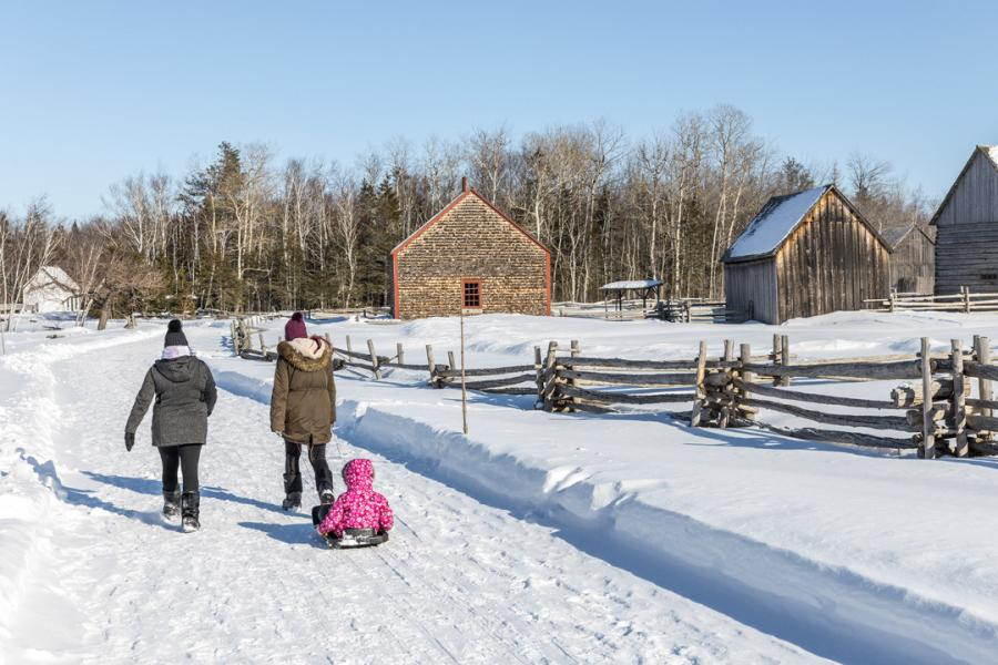 Exploring the Village Historique Acadien in the wintertime