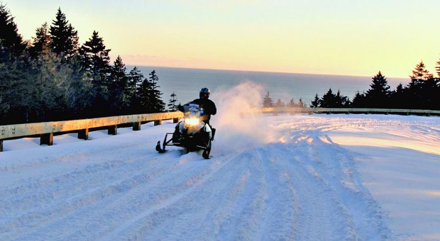 Snowmobiling near the Fundy Trail Parkway
