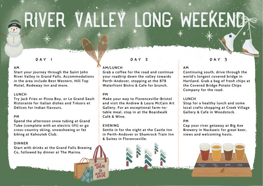River Valley Winter Getaway Itinerary